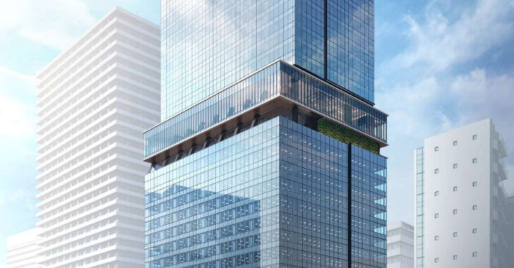 梅田・堂島浜の大阪三菱ビル建替え計画の完成予想図イメージ