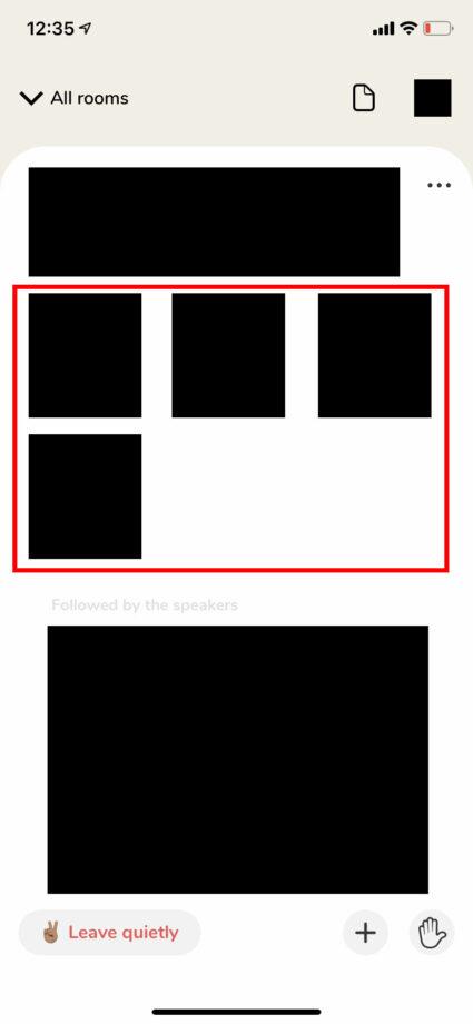 Clubhouseのルーム画面でスピーカーのアイコンが表示される位置の図示のスクリーンショット