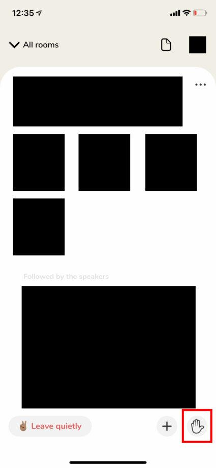 Clubhouseのルーム画面で挙手アイコンの位置の図示のスクリーンショット