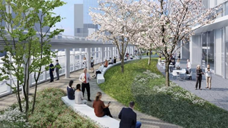東京ミッドタウン八重洲の5階屋上デッキの完成予想図イメージ