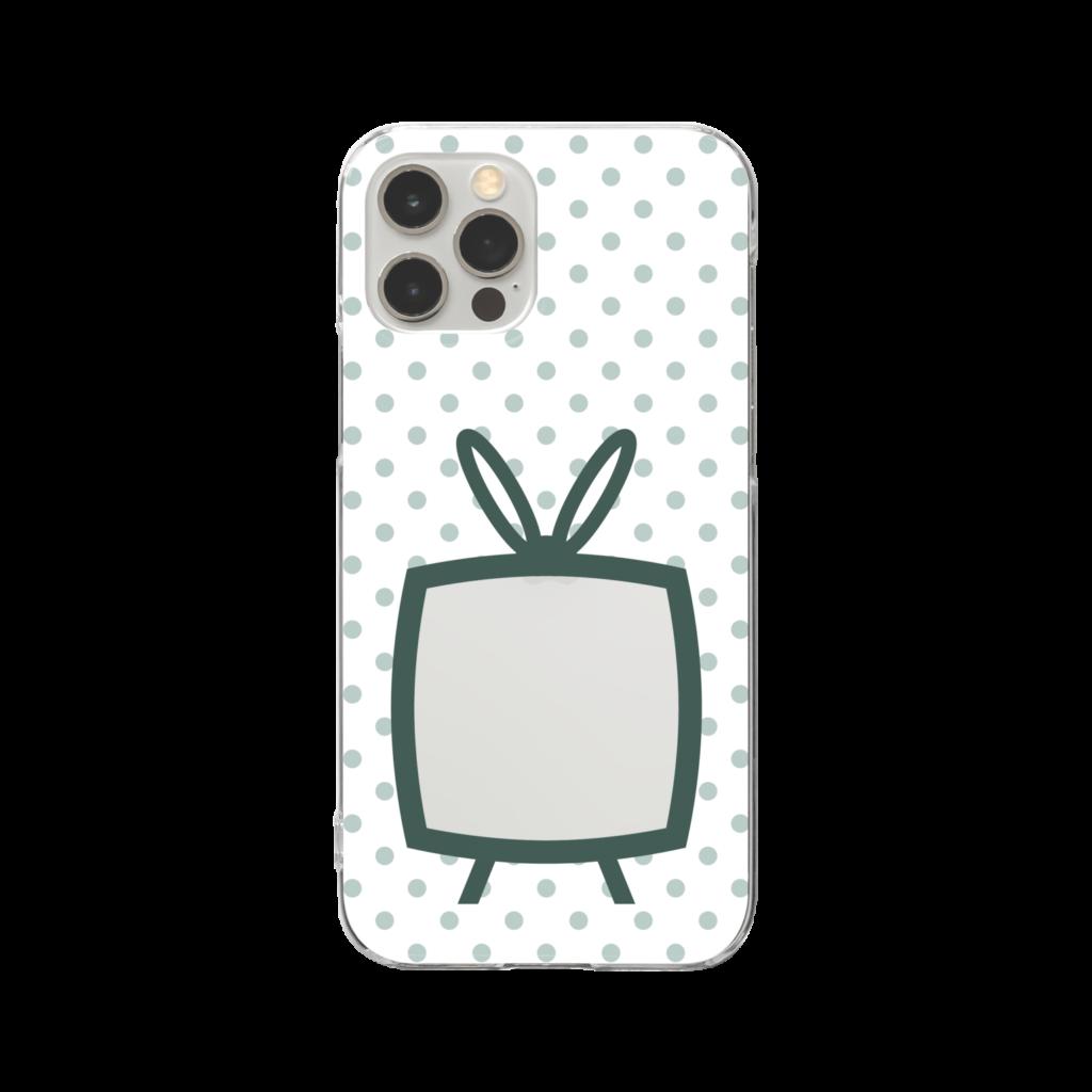 推しの挟める透明なTVデザインiPhoneクリアケース【モスグリーンTV・白地に淡色グリーンドット】