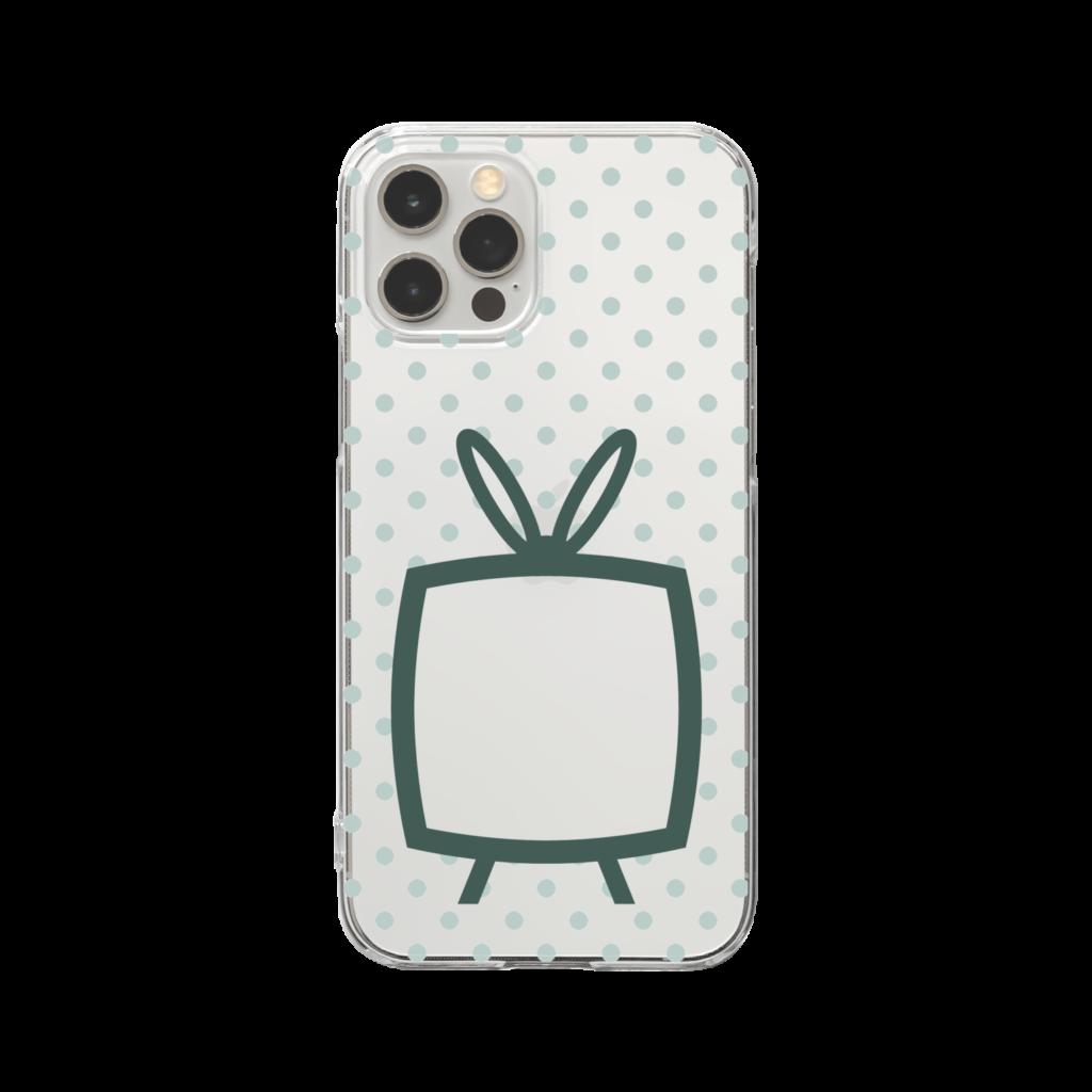 推しの挟める透明なTVデザインiPhoneクリアケース【モスグリーンTV・透明に淡色グリーンドット】