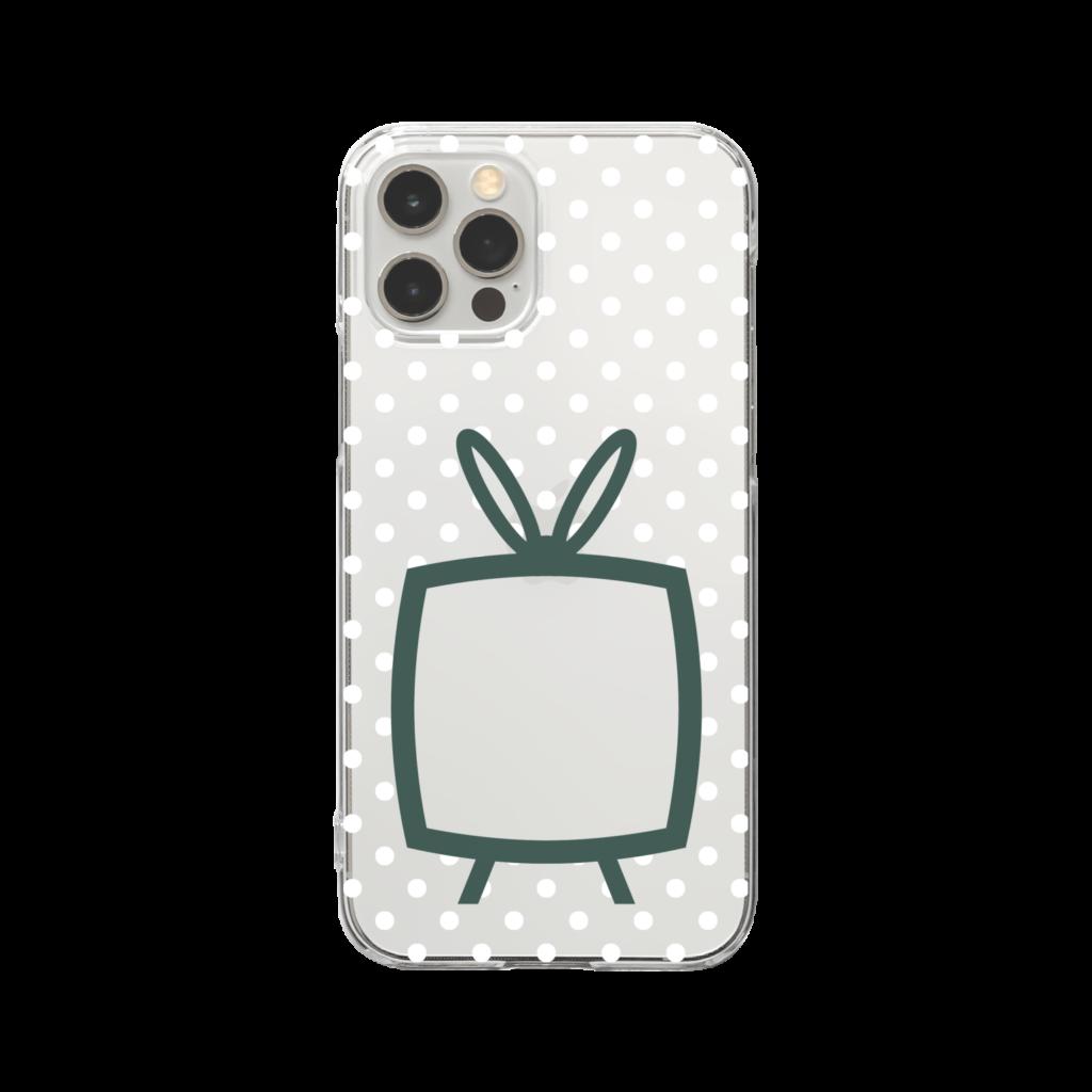 推しの挟める透明なTVデザインiPhoneクリアケース【モスグリーンTV・透明に白色ドット】
