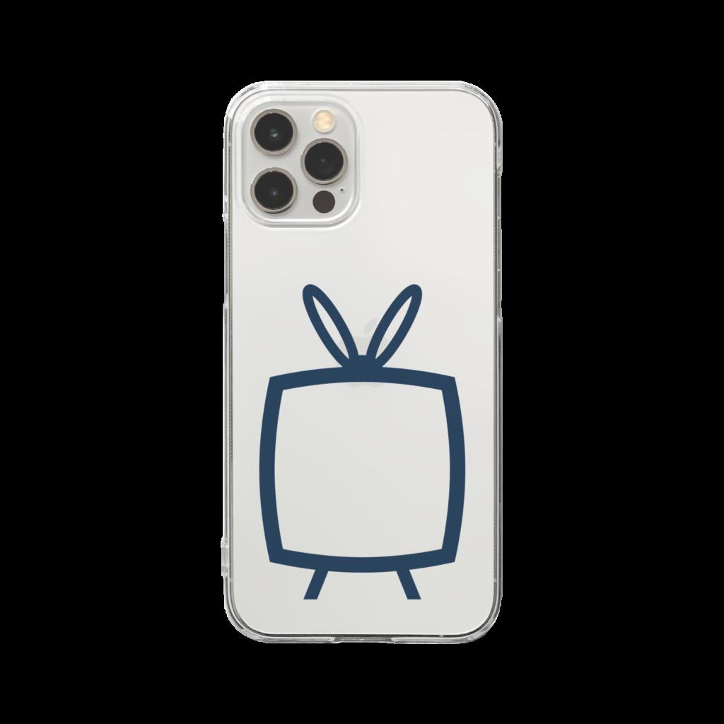 推しの挟める透明なTVデザインiPhoneクリアケース【ネイビーTV・透明フリーデザイン】