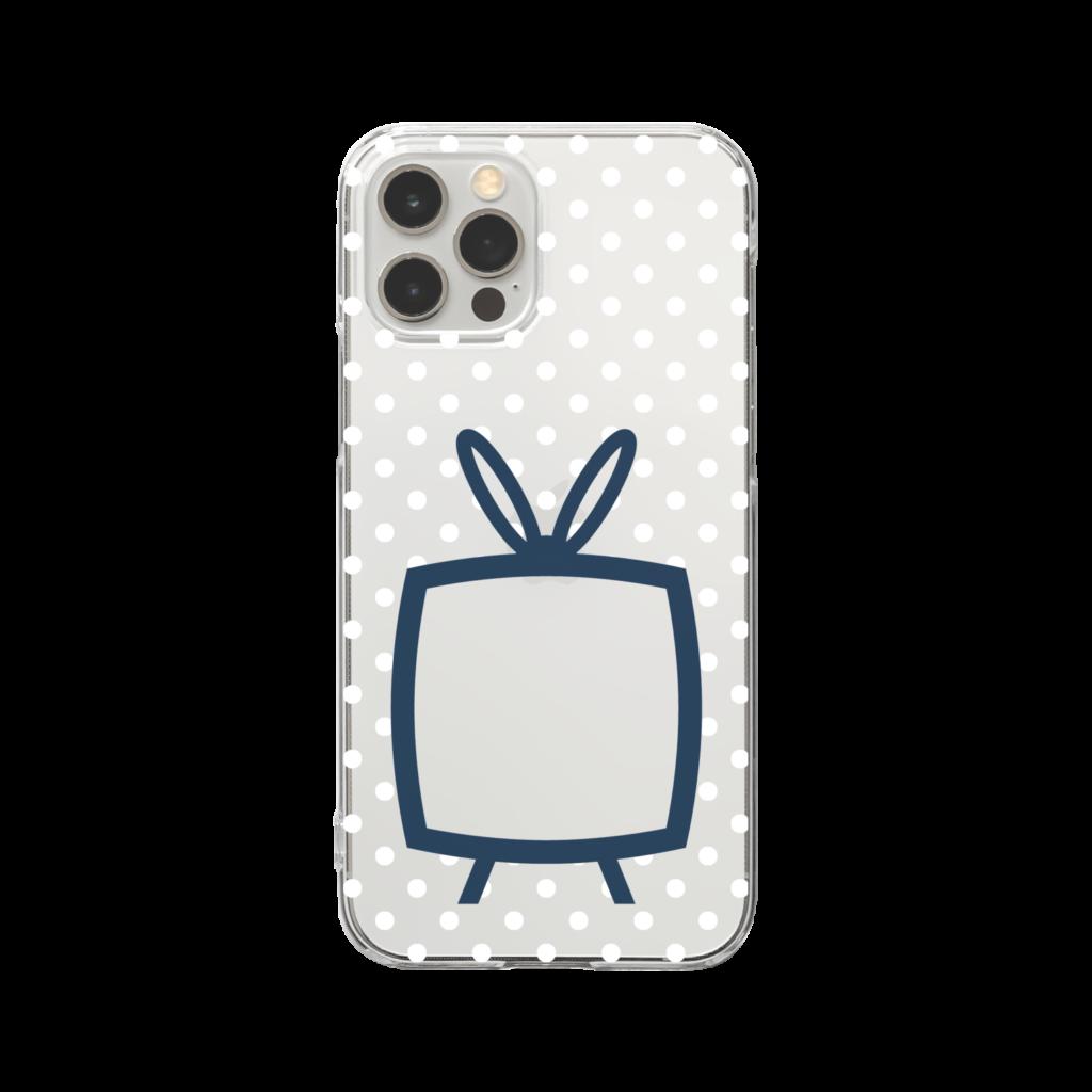 推しの挟める透明なTVデザインiPhoneクリアケース【ネイビーTV・透明に白色ドット】