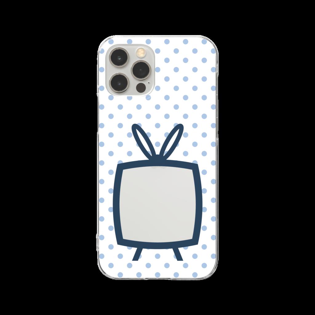 推しの挟める透明なTVデザインiPhoneクリアケース【ネイビーTV・白地に淡色ブルードット】
