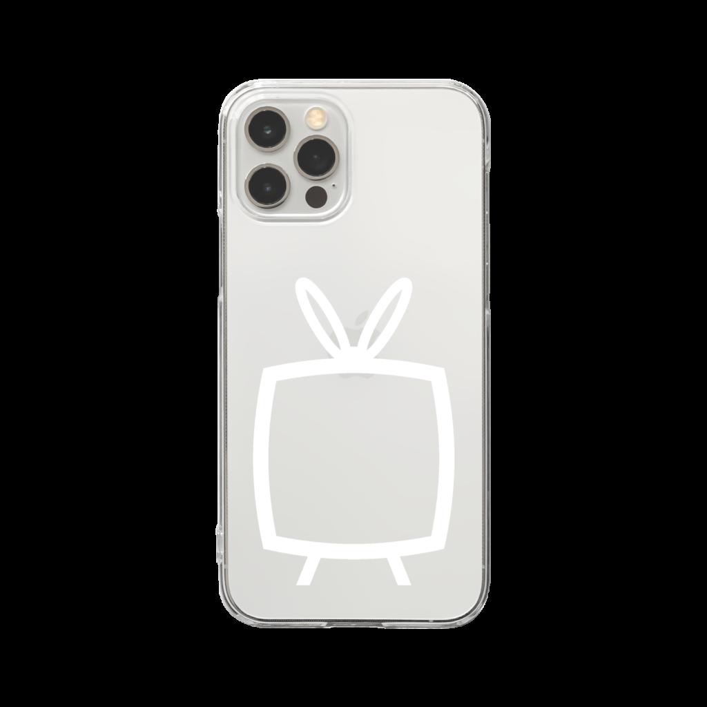 推しの挟める透明なTVデザインiPhoneクリアケース【白色TV・透明フリーデザイン】