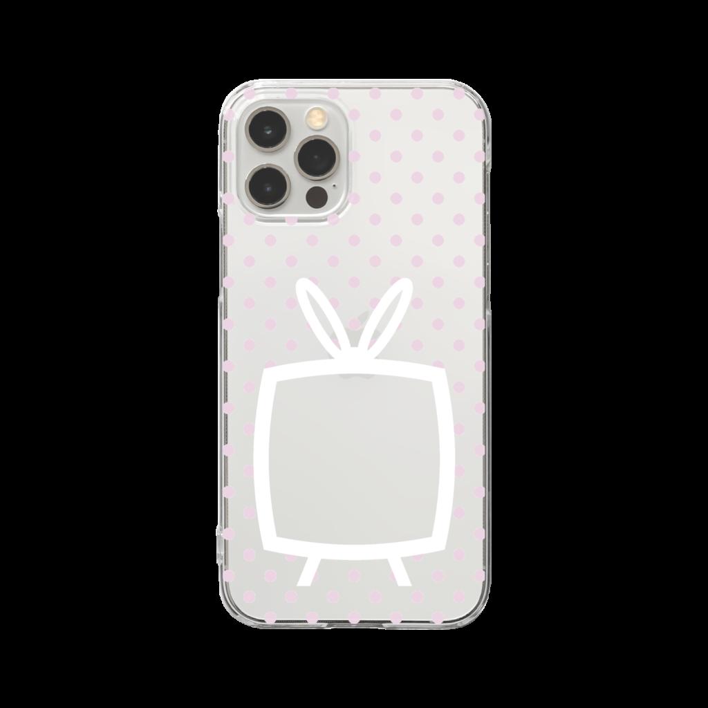 推しの挟める透明なTVデザインiPhoneクリアケース【白色TV・透明に淡色ピンクドット】
