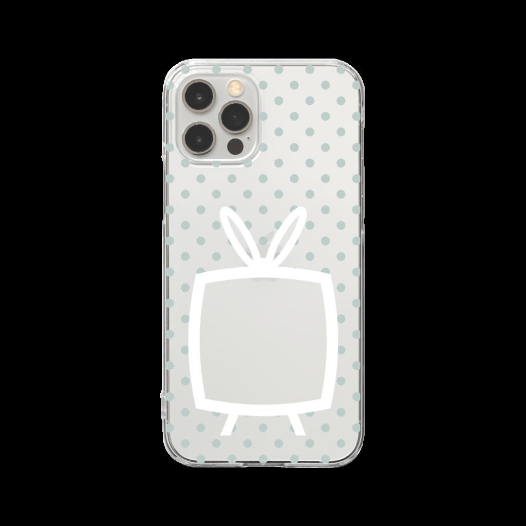 推しの挟める透明なTVデザインiPhoneクリアケース【白色TV・透明に淡色グリーンドット】