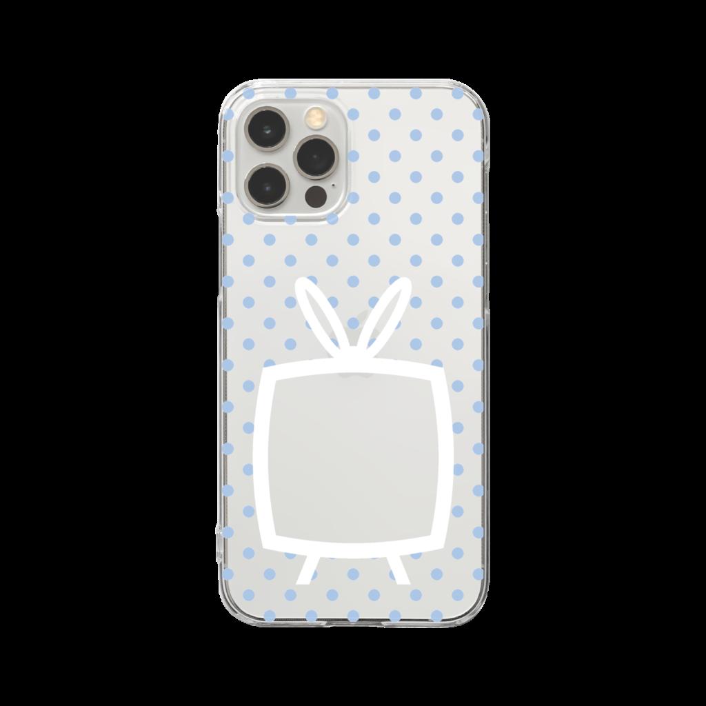 推しの挟める透明なTVデザインiPhoneクリアケース【白色TV・透明に淡色ブルードット】
