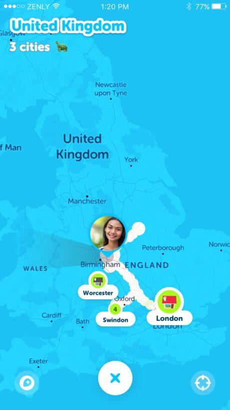ゼンリーアプリで足跡履歴(フットプリント)を表示させた画面のイメージ