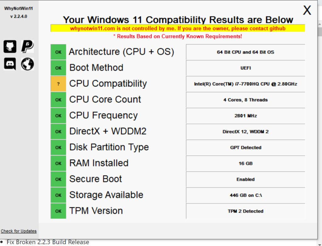 WhyNotWin11が起動し、解析が行われ、何が原因でWindows11が使えないのかを推測してくれます。の表示のスクリーンショット