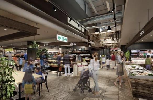 アリオ加古川のグリーンマート食品市場の完成予想図