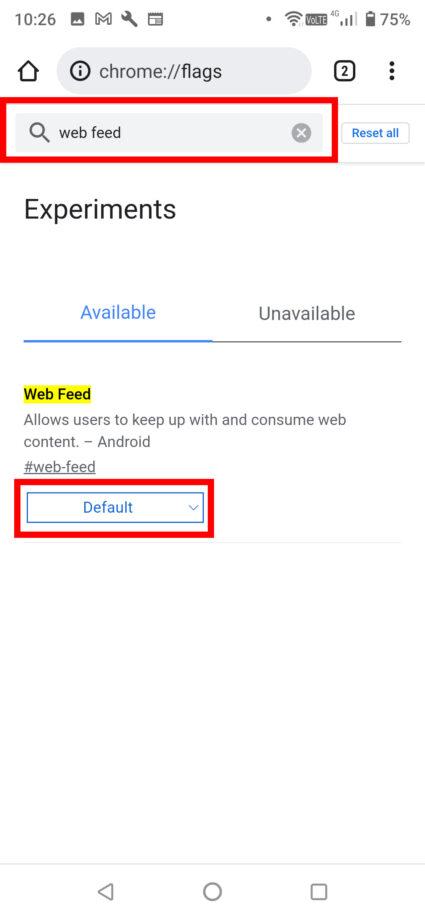 下に出てきた検索窓に「web feed」と打ち込み、「Web Feed」の欄の下にあるプルダウンの「Default」をタップします。の操作のスクリーンショット